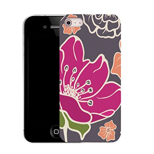 Mobile Case Mate IPhone 5S clip on Silicone Coque couverture case cover Pare-chocs + STYLET - pink poppy pattern (SILICON)