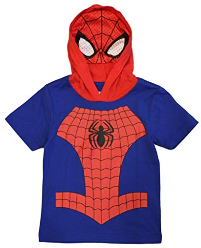 Marvel Avengers Little Boys' Toddler Spiderman Hooded Tee with Mask (2T) Royal/Red]()