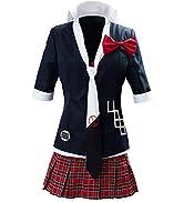 UU-Style Women's Danganronpa Junko Enoshima Cosplay Costume School Uniform Jacket Coat Tie Top Sk...