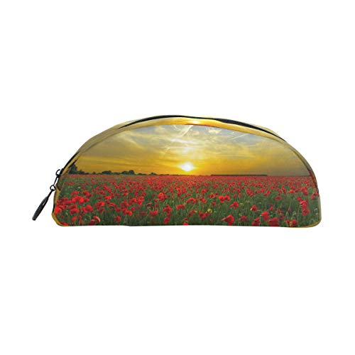 MUOOUM Sunset Field Poppy Pencil Case Semicircle Stationery Pen Bag Pouch Holder for School Office Supplies