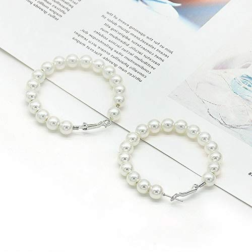 Tomikko Oversize White Pearls Hoop Earrings Women Girl Pearl Circle Fashion Jewelry Gift   Model ERRNGS - 11544   4cm (Coral Cape Hop The)