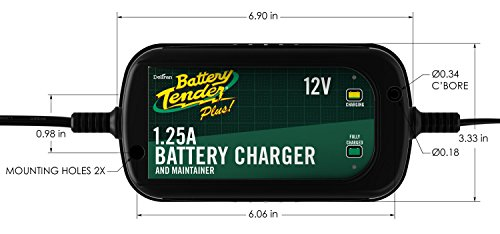 Battery Tender 022-0185G-dl-wh Black 12 Volt 1.25 Amp Plus Battery Charger/Maintainer by Battery Tender (Image #5)