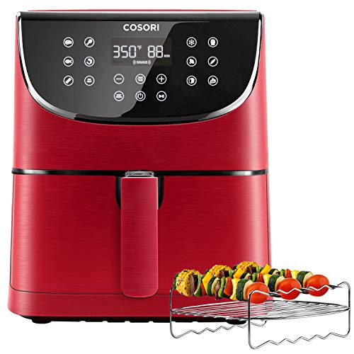 COSORI Air Fryer(100 Recipes, Rack & 5 Skewers),5.8QT Electric Hot Air Fryers Oven Oilless Cooker,11 Presets,Preheat& Shake Reminder, LED Touch Digital Screen,Nonstick Basket,2-Year Warranty,1700W,Red