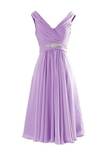 Lemai Plus Size V Neck Short Chiffon A Line Beaded Corset Prom Bridesmaid Dresses Lilac US 20W