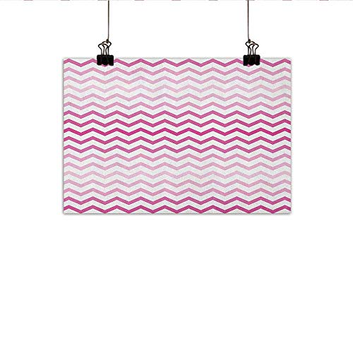 Littletonhome Light Pink Abstract Painting Chevron Zigzag Pattern with Twisted Parallel Lines in Vibrant Tones Graphic Natural Art 47