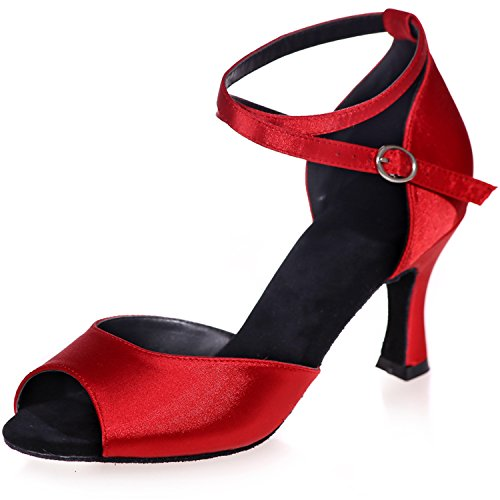 Clearbridal Women's Satin Dance Shoes Ankle Strap Sandals Evening Prom Party Cocktail High Heel ZXF8349-01A Red