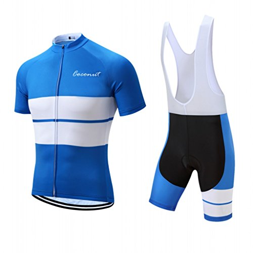 Men's Cycling Jersey Set Road Bike Jersye Short Sleeves Cycling Kits + Bib Shorts with 3D Padded (Large, Blue/White)