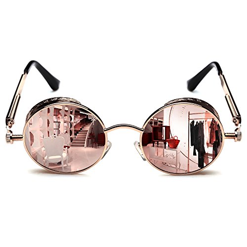 Rocknight Gothic Steampunk Polarized Full Metal Round Frame Sunglasses UV Protection golden & (Steampunk Sunglasses)