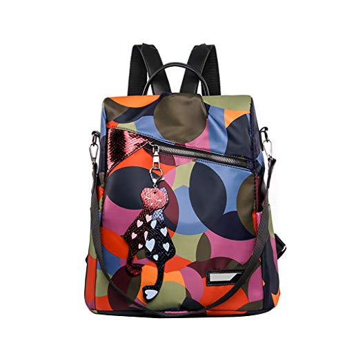 (SMALLE ◕‿◕ Women Fashion Mini Backpack Purse, Crossbady Shoulder Bag Cute Quilted Nylon Back Pack Purses for Girls)