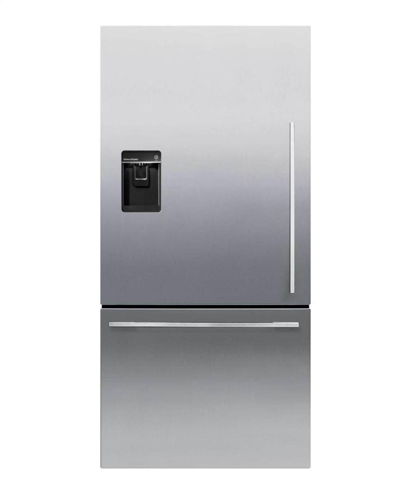 Fisher Paykel RF170WDLUX5 32' 17.1 Cu. Ft. Capacity Bottom Freezer Refrigerator with Independent Temperature Control LED Lighting Ice and Water Dispenser in Stainless Steel (Left Hand