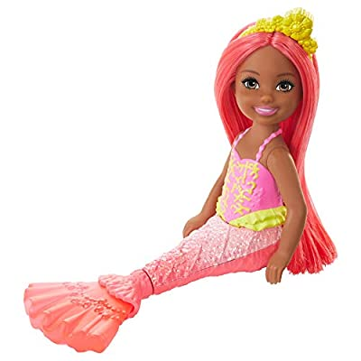 Barbie Dreamtopia Chelsea Mermaid Doll, 6.5-inch with Coral-Colored Hair and Tail: Toys & Games