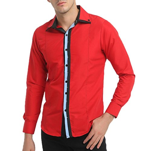 (Besde Men's British Fashion Dry Fit Slim Patchwork Long Sleeve Casual Button-Down-Shirts)