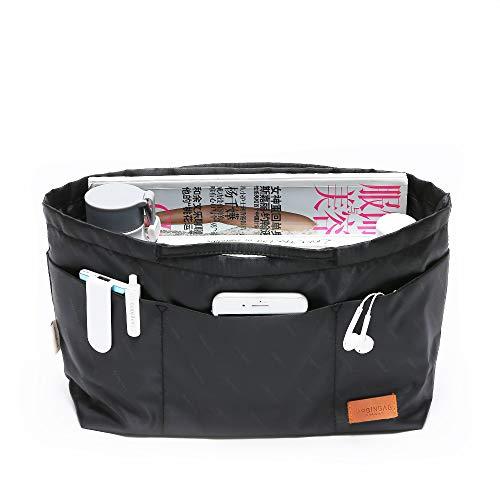IN Multi-Pocket Travel Handbag Organizer Insert Medium for Tote bag Purse Liner Insert Organizer With Handles (Medium, Black)