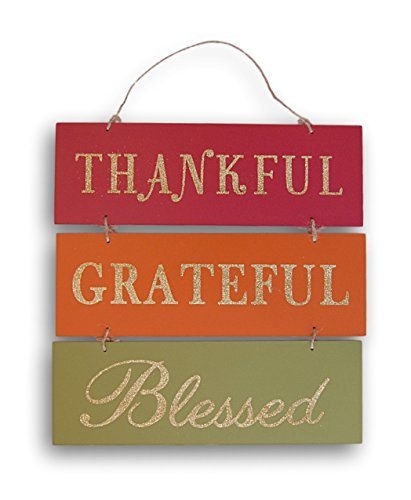 Wooden Hanging Thanksgiving Autumn Themed Thankful Grateful Blessed Decor Sign - 12 x 12