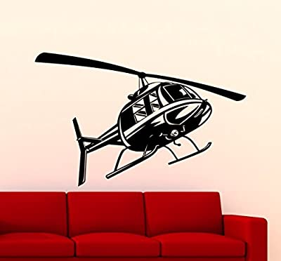 Helicopter Wall Decal Aircraft Air Forces Military Copter Vinyl Sticker Home Nursery Kids Boy Girl Room Interior Art Decoration Any Room Mural Waterproof Vinyl Sticker (121xx)