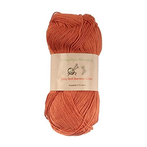 - Baby Soft Bamboo Cotton Yarn - JubileeYarn - Burnt Orange - 4 Skeins
