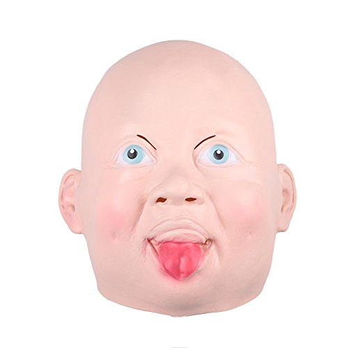 TOPmountain Creepy Smile Cry Baby Head Face Latex Scary Horror Mask for Halloween Party Costume Adult (Creepy Smile Mask)