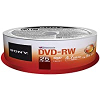 Sony 25DMW47SPM DVD-RW 2 X 4.7GB Spindle Rewritable DVD, 25-Pack
