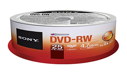Sony 25DMW47SPM DVD-RW 2X 4.7GB Spindle Rewritable DVD, 25-Pack