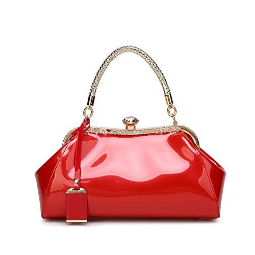 Coolives Bolso de charol para mujer elegantemente diseñado Bolso de moda Bolsa de fiesta Bolsa de señora para trabajar Rojo