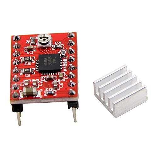 - AIkong A4988 Breakout Shield Board Stepper Motor Driver Module Controller Heatsink red