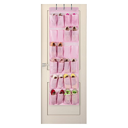 Ticent Hanging Over The Door Shoe Organizer - 24 Pockets (Pink)