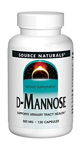 (Source Naturals D-Mannose 500mg Potent Urinary Tract (UT) & Bladder Health Support - Fast-Acting, Cleansing, Detoxifying - Naturally Flush Impurities - 120 Capsules)