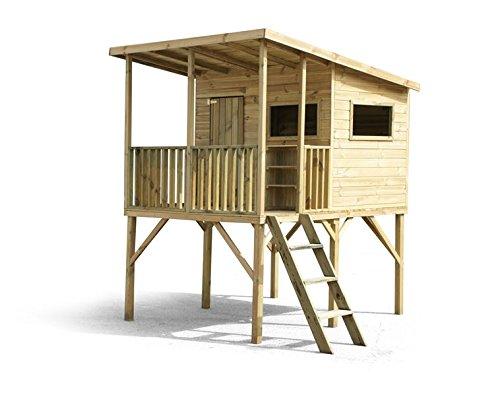 Stelzenhaus Robinson- Spielturm Holz für den Garten, FSC zertifieziert/ TÜV geprüft inkl. Dachpappe (Large)