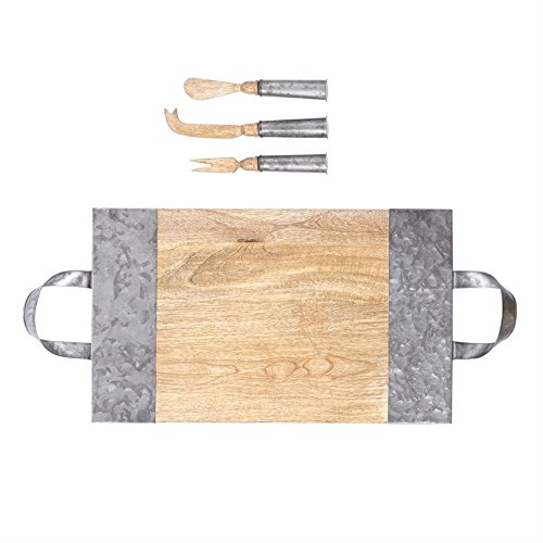 Mud Pie 4755040 Wood and Tin Serving Board Set, One Size, Brown/Silver