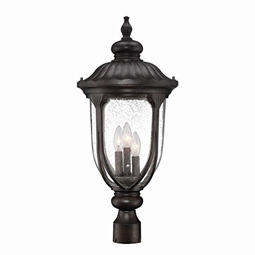 Acclaim 2227BC Laurens Collection 3-Light Post Mount Outdoor Light Fixture, Black Coral