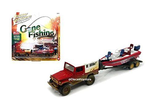 JOHNNY LIGHTNING 1:64 GONE FISHING 2017 VERSION A - 1980 TOYOTA LAND CRUISER WITH WHITE SOFT TOP, BOAT & TRAILER - MIJO EXCLUSIVES RED JLCP7032-24 from Johnny Lightning