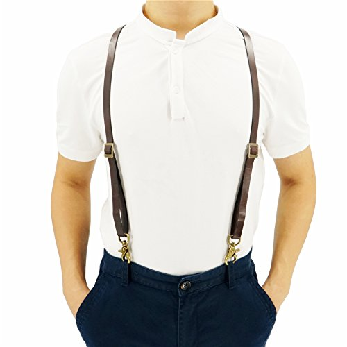 0.6'' Wide Full-Grain Thick Coffee Suspenders for Women and Men, European Style with Vintage Clips, Wedding Suspenders by Lawevan