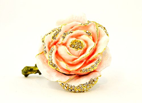 (Rose Flower Trinket Box, Hand Set Swarovski Crystal, Hand Painted Pink Enamel Over Solid Pewter Base, Inside of Box with Lovely Enamel, Comes in Beautiful Gift Box, L 3.00 X 2.00 X 2.50)