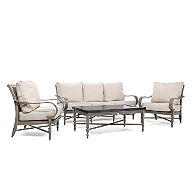 Blue Oak Outdoor Saylor 4PC Patio Furniture Conversation Set (Sofa, Aluminum Top Coffee Table, 2 Lounge Chairs) with Outdura Remy Sand Cushion - Luxury Dining comfort: you and your party guests will dine in comfort while enjoying cocktails and great conversation. Ideal for patio, garden, deck, porch, fire pit, and poolside entertainment Trusted quality: beautiful and best quality outdoor patio furniture set made by the best known veterans in the patio set industry with dozens of years of experience and innovation Long lasting build: the rustproof aluminum table top is a statement piece for your outdoor space. The thick, rustproof aluminum gives it superior durability in the elements - patio-furniture, patio, conversation-sets - 41yZHz5wcIL. SS400  -