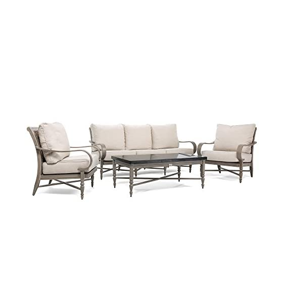 Blue Oak Outdoor Saylor 4PC Patio Furniture Conversation Set (Sofa, Aluminum Top Coffee Table, 2 Lounge Chairs) with Outdura Remy Sand Cushion - Luxury Dining comfort: you and your party guests will dine in comfort while enjoying cocktails and great conversation. Ideal for patio, garden, deck, porch, fire pit, and poolside entertainment Trusted quality: beautiful and best quality outdoor patio furniture set made by the best known veterans in the patio set industry with dozens of years of experience and innovation Long lasting build: the rustproof aluminum table top is a statement piece for your outdoor space. The thick, rustproof aluminum gives it superior durability in the elements - patio-furniture, patio, conversation-sets - 41yZHz5wcIL. SS570  -