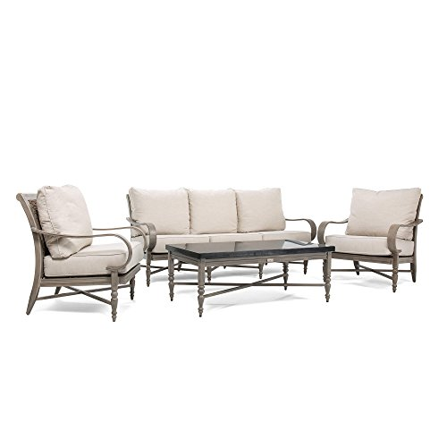 Aluminum Sofa - Blue Oak Outdoor Saylor 4PC Patio Furniture Conversation Set (Sofa, Aluminum Top Coffee Table, 2 Lounge Chairs) with Outdura Remy Sand Cushion
