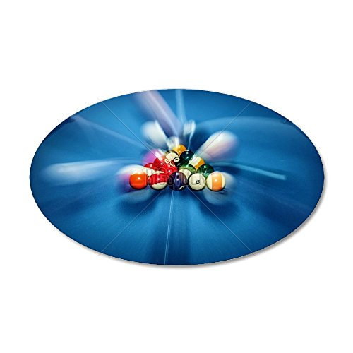 CafePress - Blue Billiard Table With Col - 35x21 Oval Wall Decal, Vinyl Wall Peel, Reusable Wall Cling