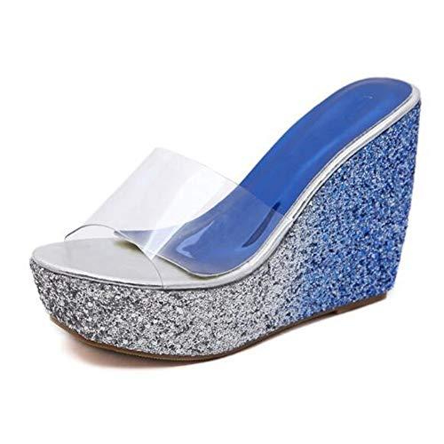 Womens Transparent Clear Wedge Heels Sandals Bing-Full Shining Bottom Comfy Slides Shoes Platform Non-Slip Sole Slippers Blue ()