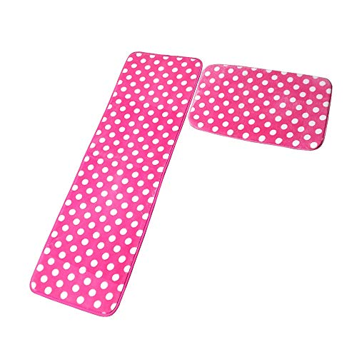 Kitchen Rugs Memory Foam Non Skid Bottom Pink With White Dot Kitchen Rugs Set 2 Pieces (15.7