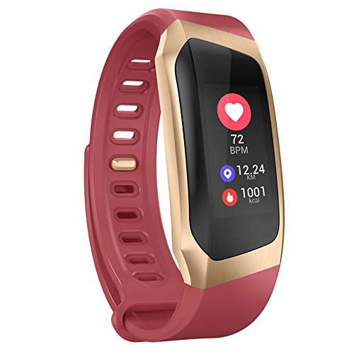 Smart Watch band Heart Rate monitor LCD Display IP67 Waterproof For IOS Android (Red gold) by fhong
