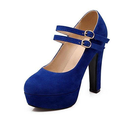 Bleu balamasa shoes pumps Mesdames en Boucle Boucles doux Matériau Foncé métal qzZ7qw
