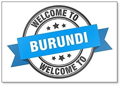 Burundi Stamp. Welcome to Burundi Blue Sign Fridge Magnet