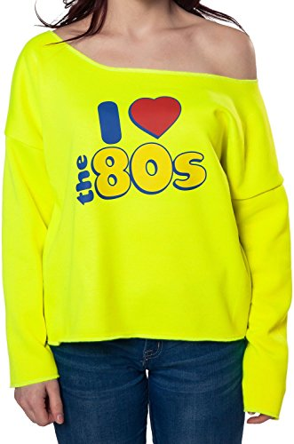 Juniors Fit Female I Love the 80s Cut Off Sweatshirt. Three Colors - S to 2XL