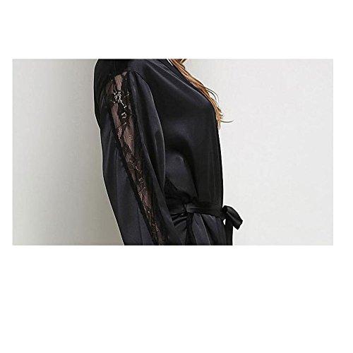 Donna Pizzo Biancheria Nero Camicia Kimono Vestaglia Accappatoio Jzlpin Indumenti Da Notte Lungo 5gtxwqqASz