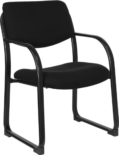 Flash Furniture Black Fabric Executive Side Reception Chair with Sled Base by Flash Furniture