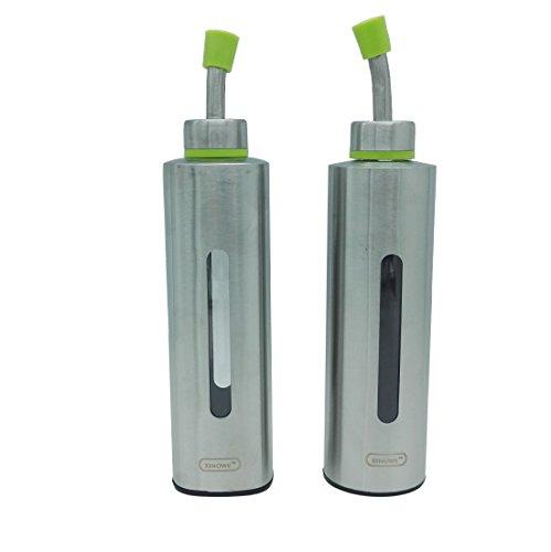 xinowe Conjunto de 2SS y plástico dispensador de aceite botella, Inlet Aceite de Oliva, 8.8oz (250ml) Aceite de vinagre...