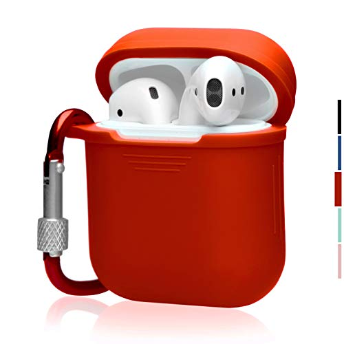 The OAKS Improved Airpods Case Protective Cover Skin with Lockable Carabiner and Airpods Strap Compatible with Airpods Charger Case (6 Colours Available) (Red)