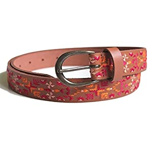 Lucky Brand - Women's - Aztec Blanket Embroidered Leather Belt (Small)
