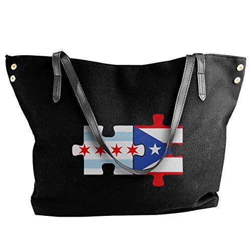 Chicago Puerto Rico Flags Puzzle Canvas Shoulder Bags Casual Handbag For Womens Black