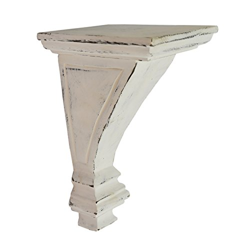 (CinMin Antique White Handcarved Art Deco Corbel Wood Wall Bracket and Floating Shelf, Torino)